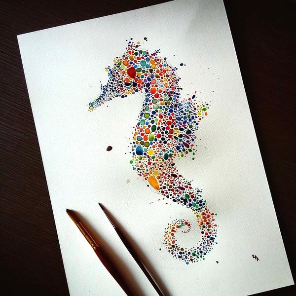 超カラフルな動物の水彩画!色とりどりの点によって描かれる (1)