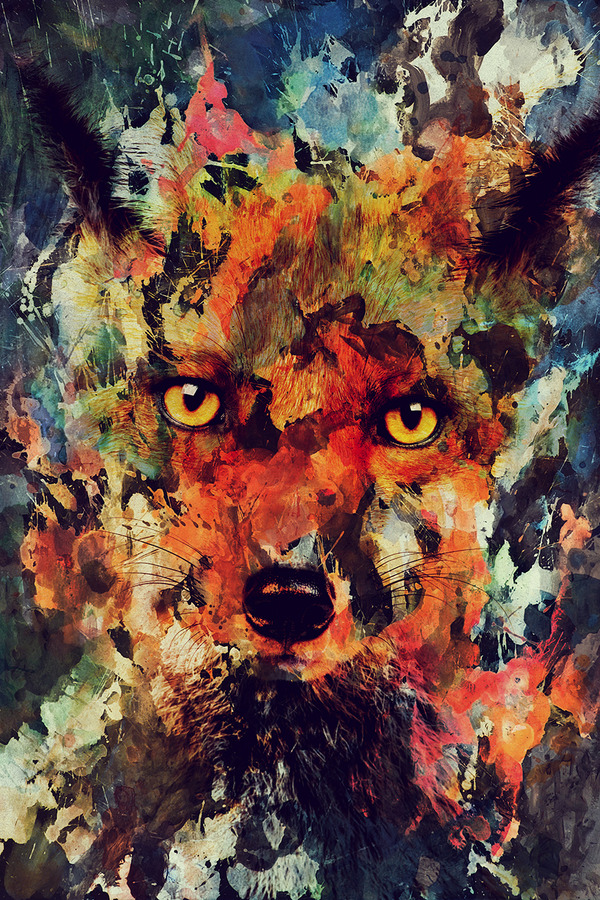 二重露光スタイルによる水彩画の中の野生動物 (7)