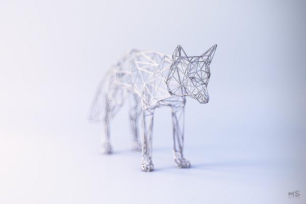 3Dポリゴンみたいな幾何学的動物彫刻 (8)