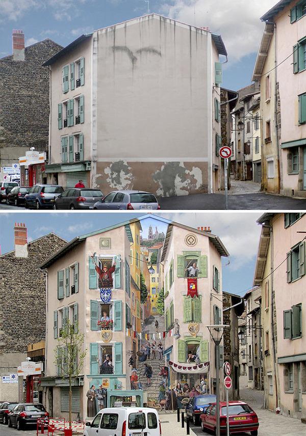 生活空間があるみたい。建物の壁に建物を描く壁画 (2)