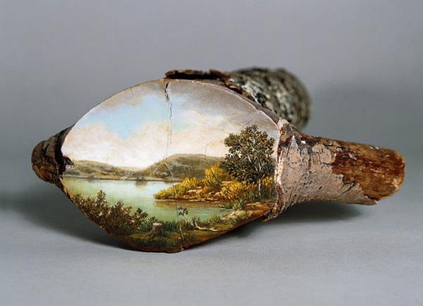 木の断面にアメリカの自然風景を描く (16)