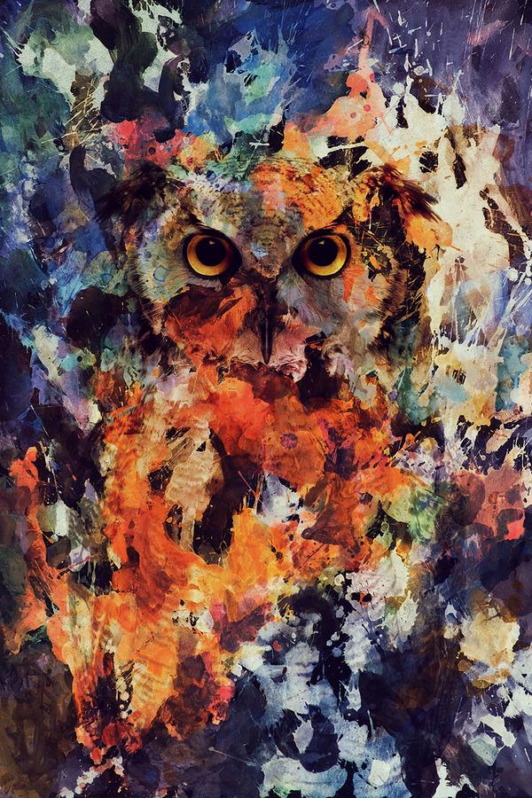 二重露光スタイルによる水彩画の中の野生動物 (6)