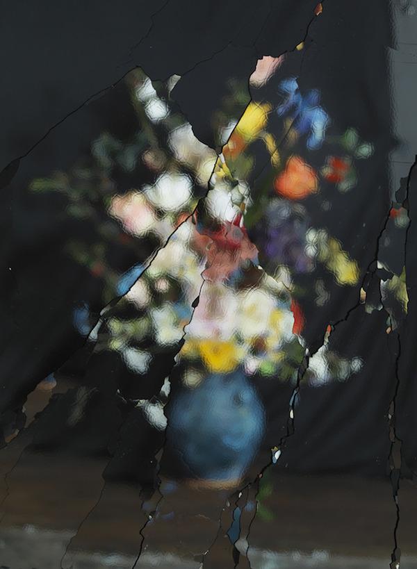 壊れた鏡に反射させた花 8