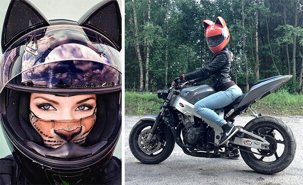 猫ヘルメットがクール!ネコ耳!二輪用フルフェイスヘルメット (5)