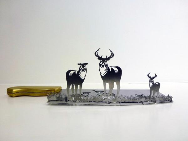 包丁からシルエット。ブッチャーナイフから金属彫刻 (1)