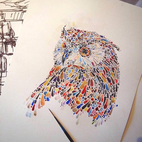 超カラフルな動物の水彩画!色とりどりの点によって描かれる (17)