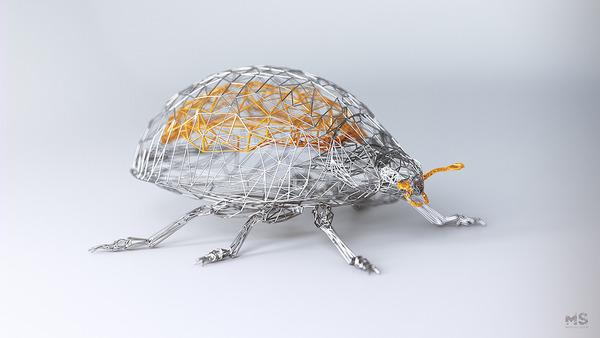 3Dポリゴンみたいな幾何学的動物彫刻 (9)