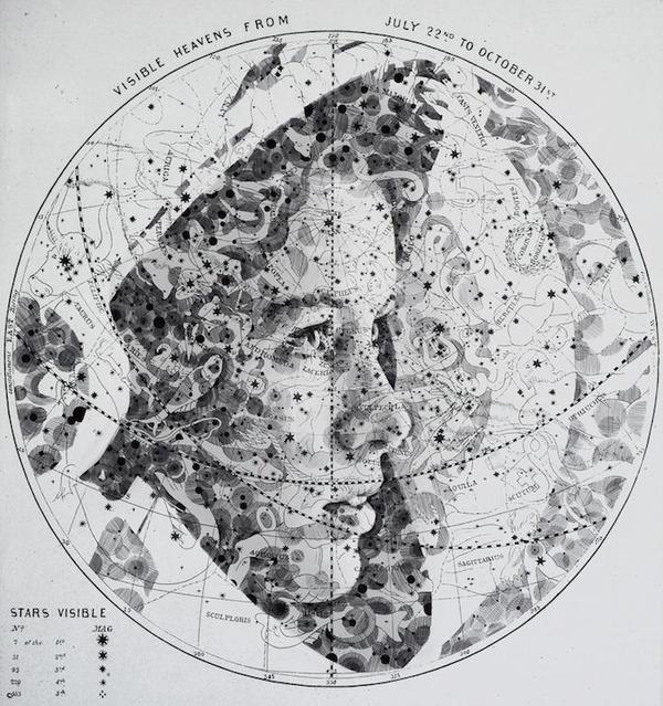 地図をキャンバスにして描く印象的な肖像画 (3)
