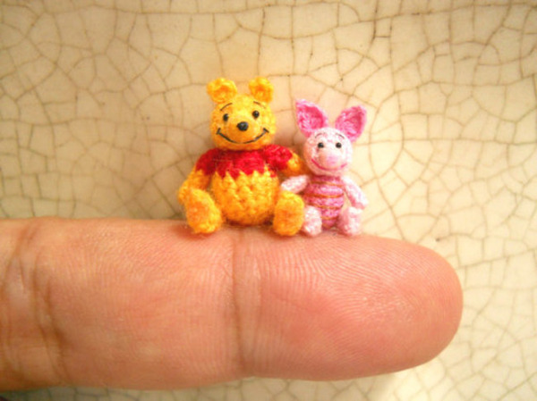 プーさんとプグレットの編みぐるみ