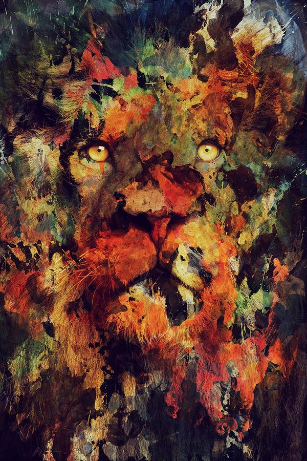 二重露光スタイルによる水彩画の中の野生動物 (5)