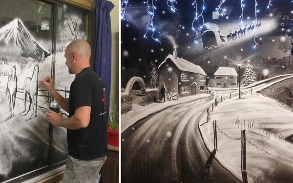 クリスマスシーズン!スノースプレーで窓に描く雪景色のアート (2)
