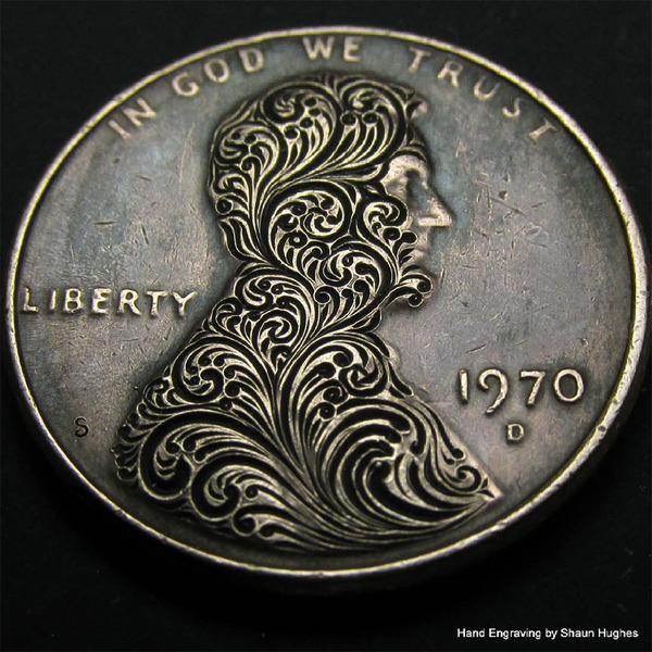 超繊細!コインに花の模様を彫る彫刻作品 (4)
