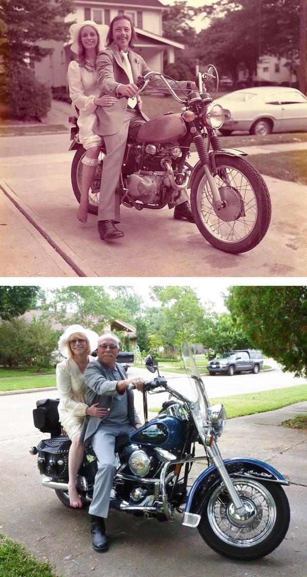 結婚40年記念の写真と昔の写真