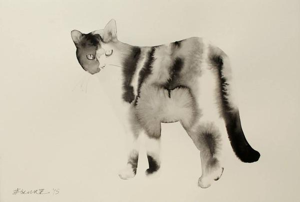 水墨画のような黒猫の水彩画 エンドレ・ペノベック6