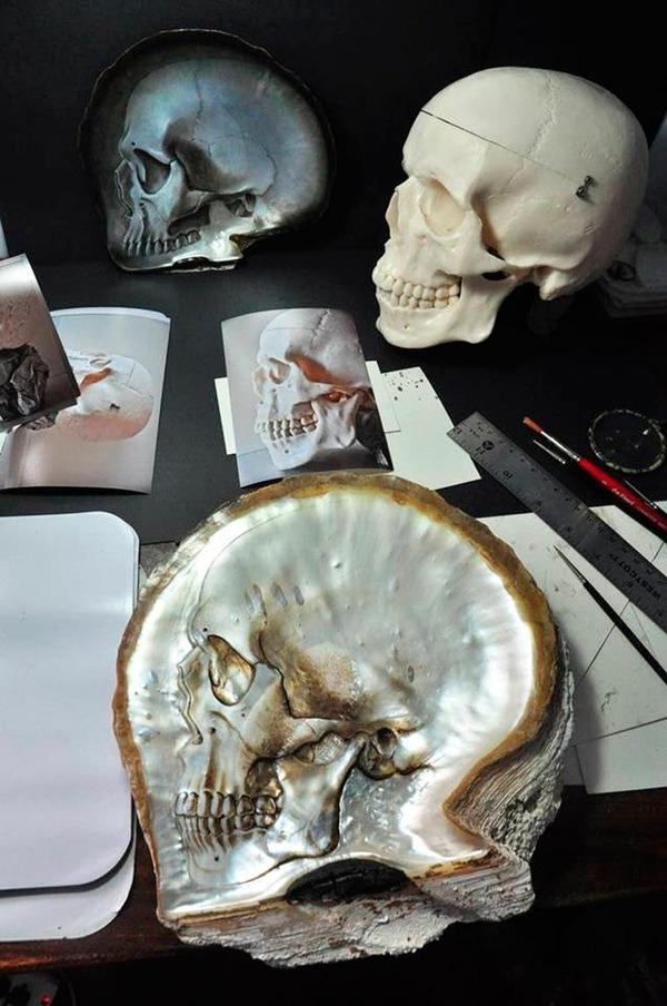 美しい質感。貝殻に髑髏(ドクロ)を彫った彫刻作品 (8)