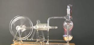 【科学】蒸気機関の仕組みを再現したガラスの模型玩具