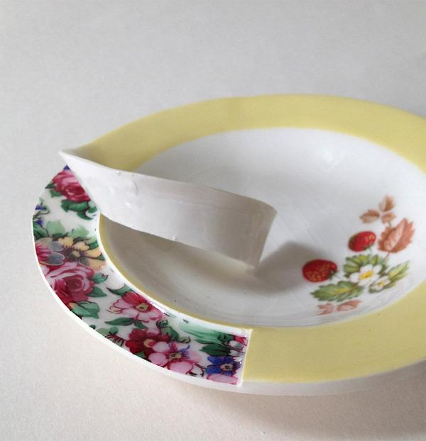 すんごい盛り付けしにくそう。ペロリと捲れた陶器のお皿 (3)