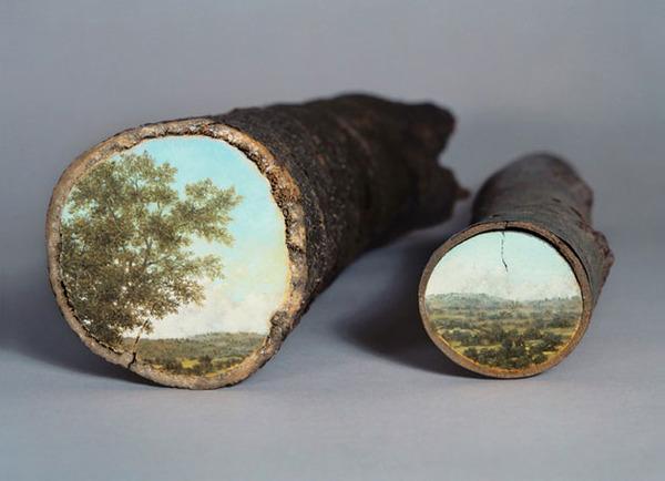 木の断面にアメリカの自然風景を描く (3)