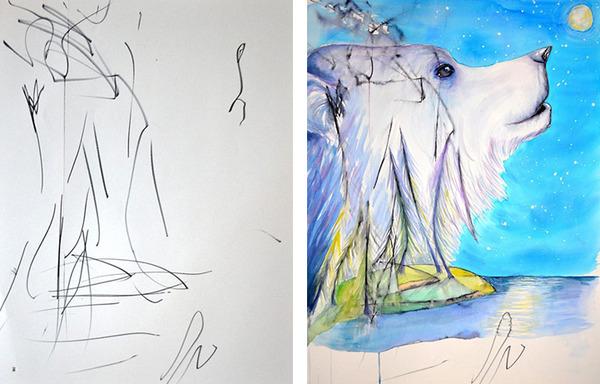 コラボレーション!子供の落書きとママが描く水彩画 (2)
