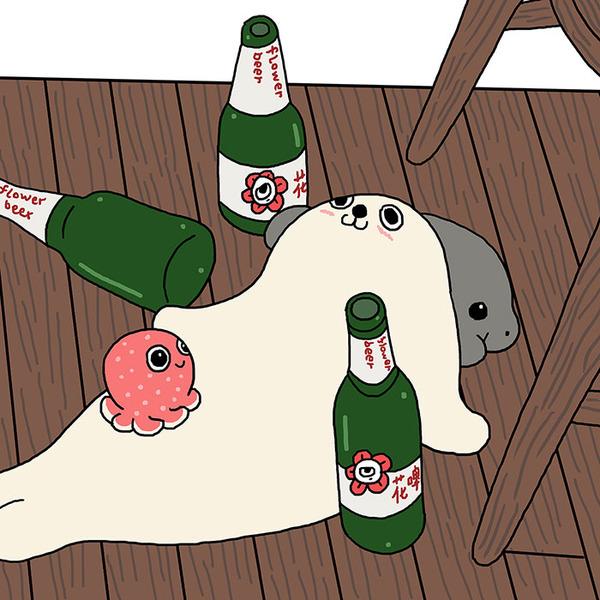 ゆ、ゆるすぎる!アザラシの日常生活を描いた癒されイラスト (1)
