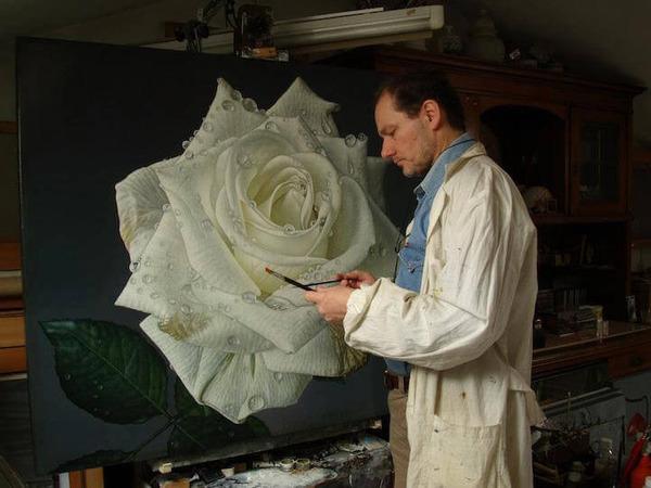高精細!水滴をまとう写実的で美しいバラの花の油絵 (2)