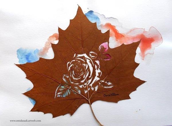 脆くて繊細な落ち葉にモチーフを彫る!カッティングアート (5)