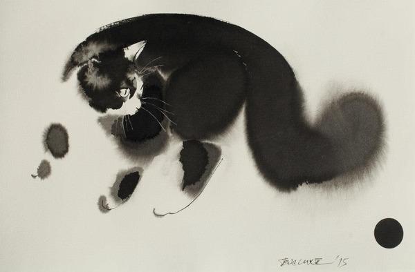 水墨画のような黒猫の水彩画 エンドレ・ペノベック4