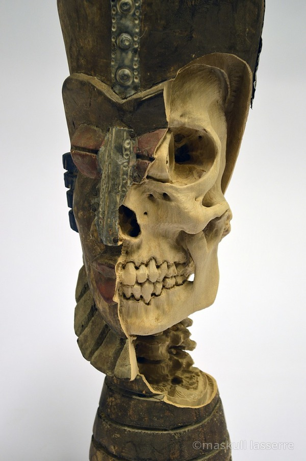 木彫りの骸骨彫刻 Maskull Lasserre 9