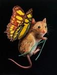 これで飛べるんや!蝶々の羽が生えたネズミやリス小動物を描いた絵