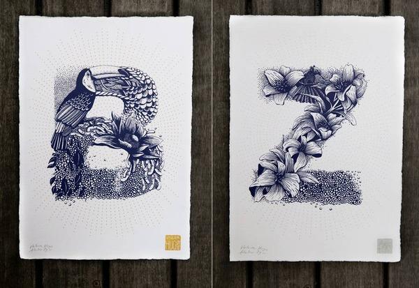 A~Zまで!花や動物がモチーフの手描きアルファベット