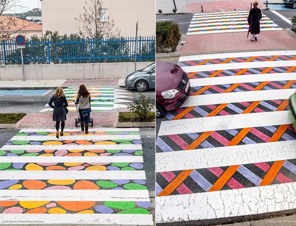 横断歩道がカラフルにペイントされたスペインの首都マドリード (7)
