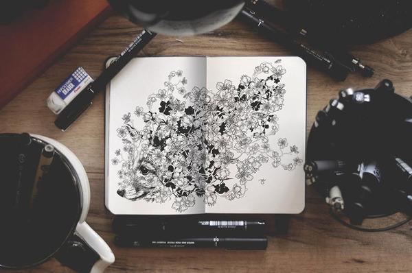 手帳ほどのスケッチブックに描く!動物をモチーフにしたイラスト (1)