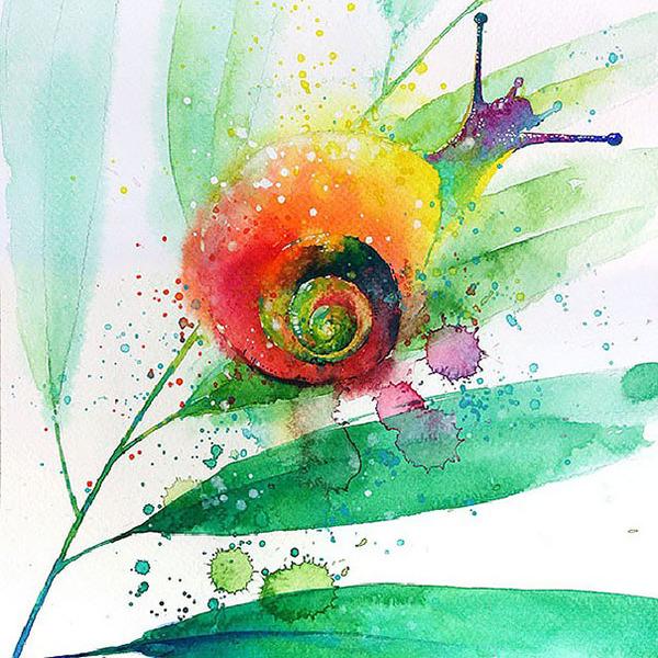 飛散する色彩と水滴!カラフルで可愛い小動物の水彩画 (7)