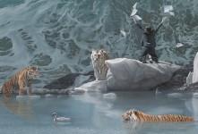 虎と人間が織り成すシュールな世界観を描いた油絵