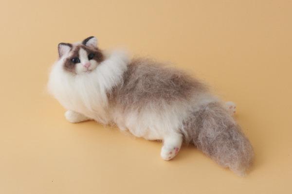 羊毛フェルトのリアル猫人形15