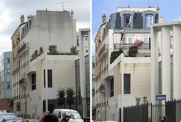 生活空間があるみたい。建物の壁に建物を描く壁画 (9)