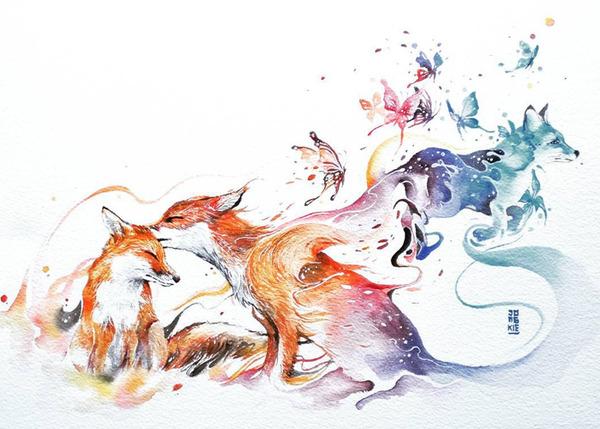 カラフルで幻想的な野生動物たちの水彩画 (5)