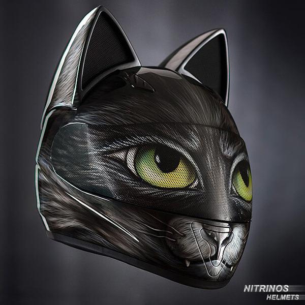 猫ヘルメットがクール!ネコ耳!二輪用フルフェイスヘルメット (11)