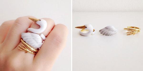 三つで一つの動物指輪。かわいいアニマルリング! (10)