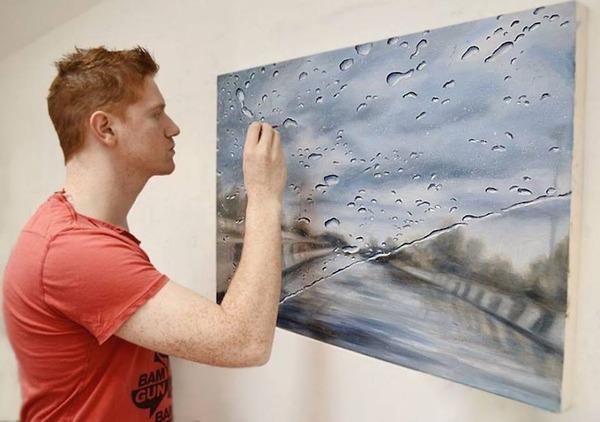 雨に濡れた車のフロントガラスから覗く世界を油絵で表現 (7)