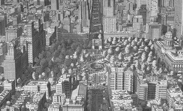 超精密!記憶を頼りに世界の都市景観を描くモノクロ絵画 (15)