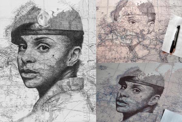 地図をキャンバスにして描く印象的な肖像画 (1)