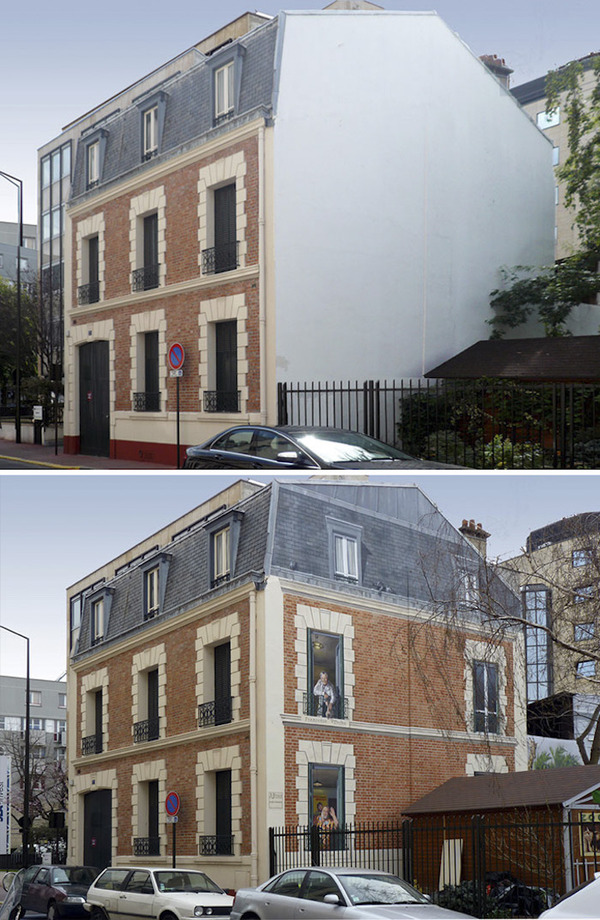生活空間があるみたい。建物の壁に建物を描く壁画 (13)