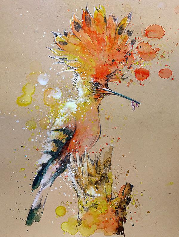 飛散する色彩と水滴!カラフルで可愛い小動物の水彩画 (10)