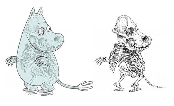 解剖学?漫画やアニメのキャラクターに骨付けしたイラスト! (11)