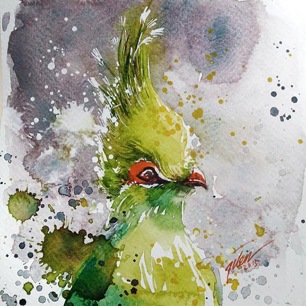 飛散する色彩と水滴!カラフルで可愛い小動物の水彩画 (6)