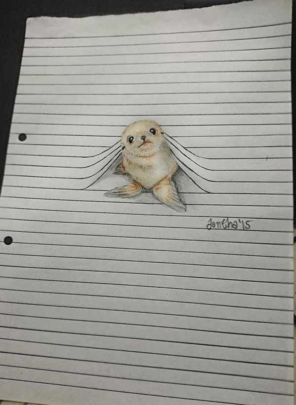 紙から飛び出る!ノートの横線で遊ぶキュートな動物のイラスト (5)