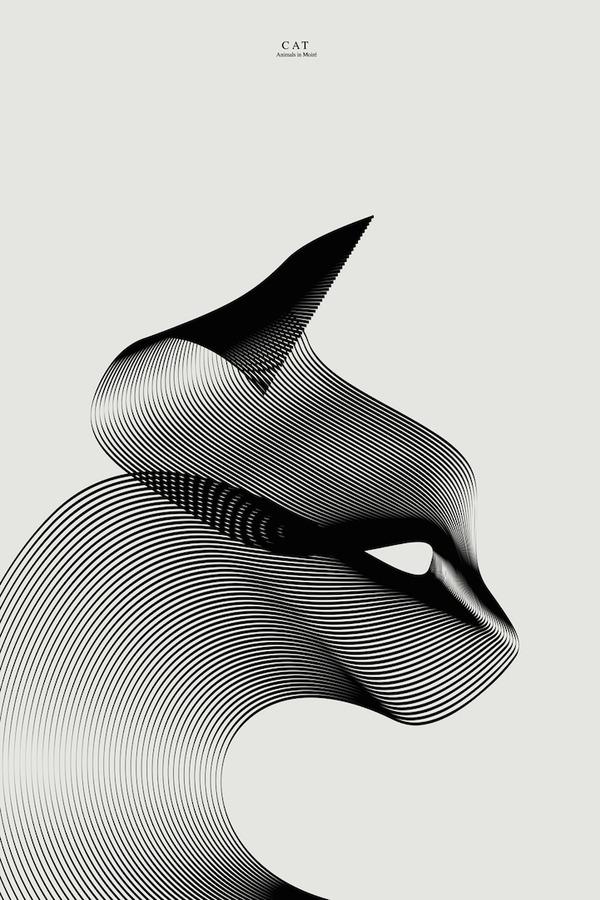 湾曲した線から描かれる動物たちのグラフィックデザイン (3)