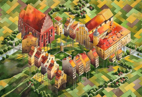 19世紀のポーランドの街並みに触発された都市の水彩画 (2)