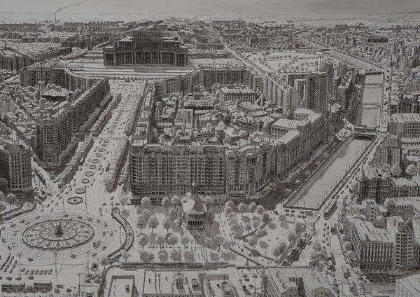 超精密!記憶を頼りに世界の都市景観を描くモノクロ絵画 (8)